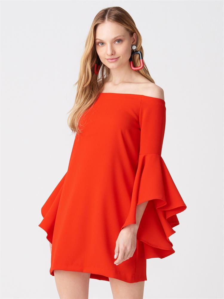 volanlı kısa elbise