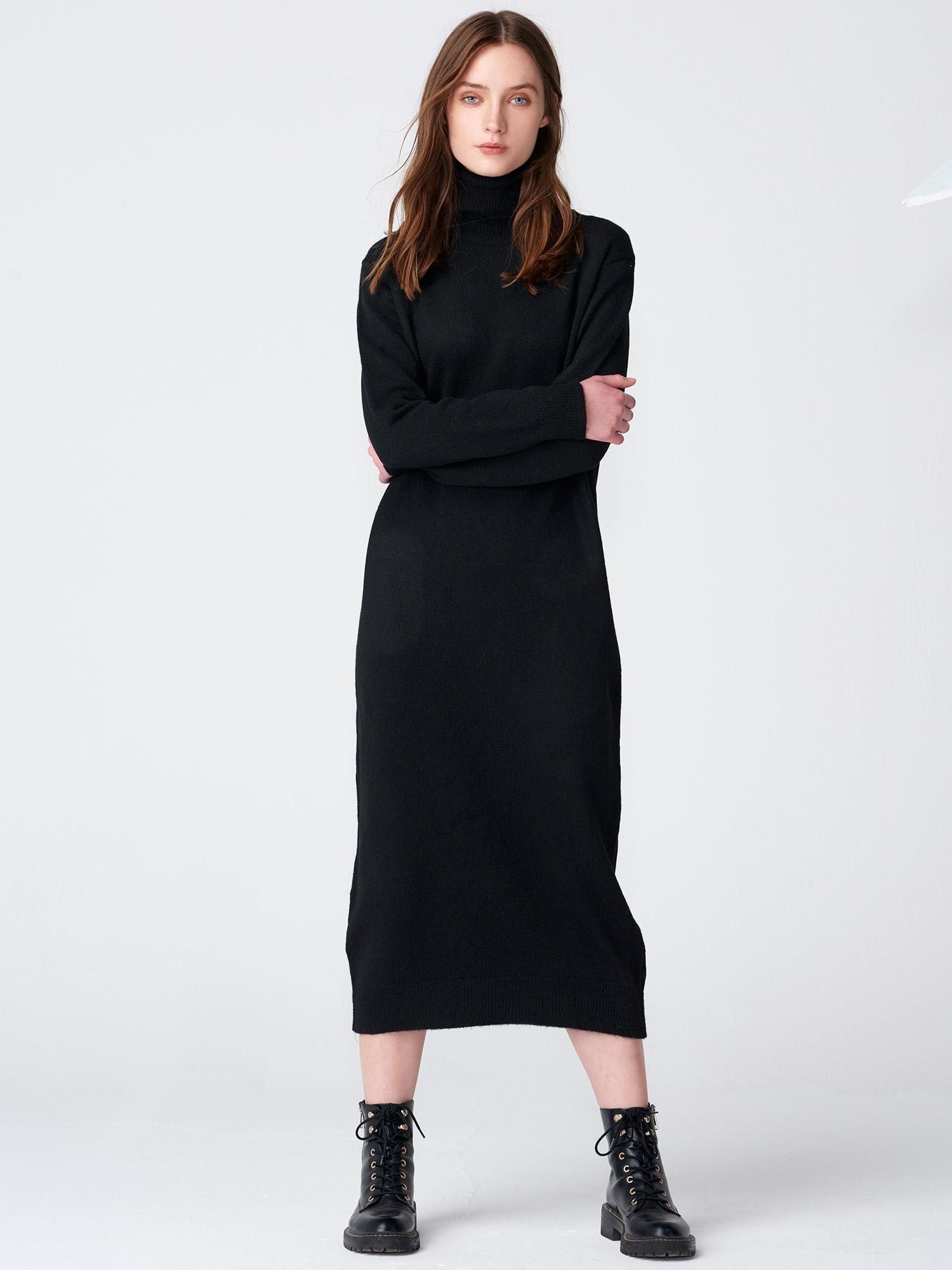 d4b7d6df4175d 2071 Balıkçı Yaka Uzun Triko Elbise-Siyah   ELBİSE   DILVIN