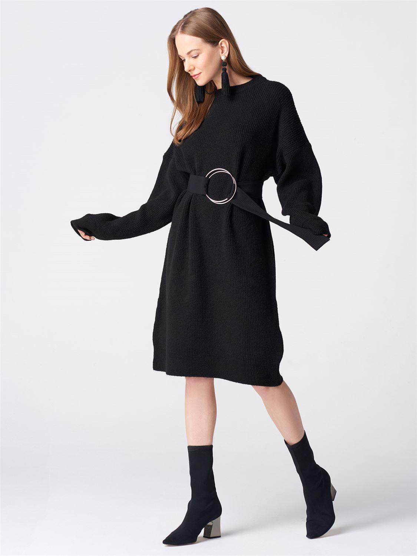 Siyah-saks-düz-örgü-elbise