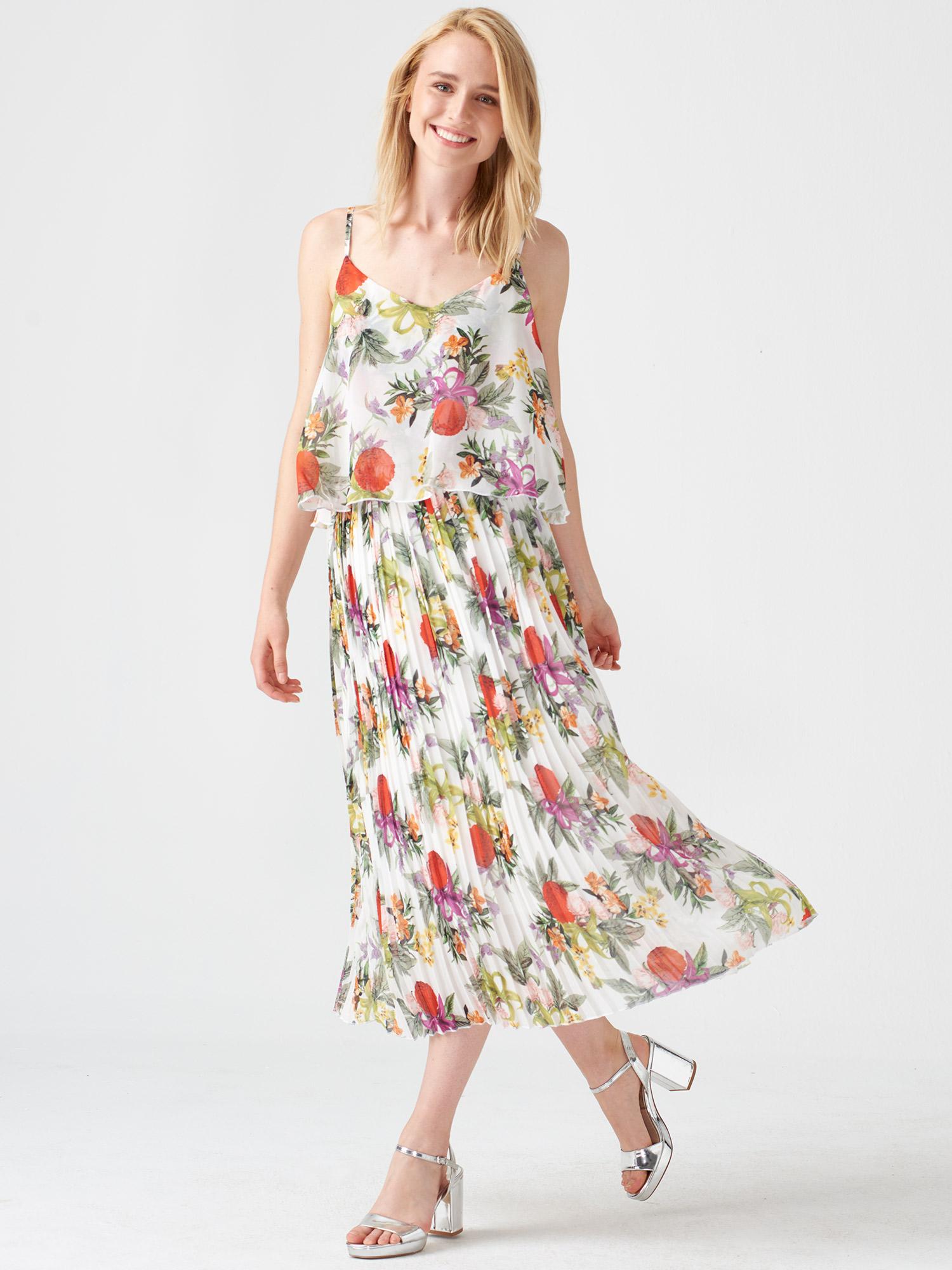 423245638b67d 336 Piliseli Çiçekli Elbise-Multi   ELBİSE   DILVIN