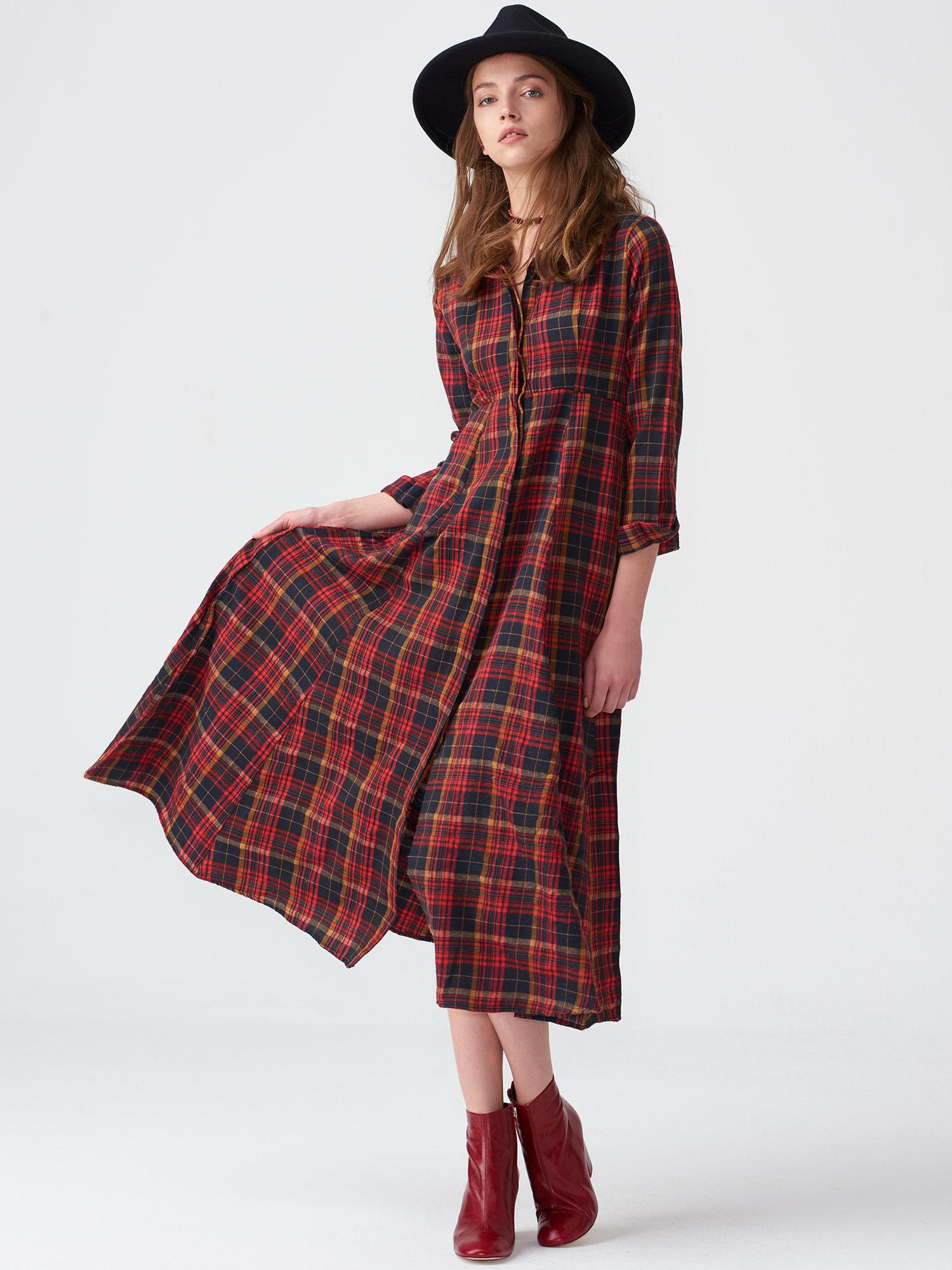 1d38eaa70952d 16557 Kareli Uzun Gömlek Elbise-Kırmızı | ELBİSE | DILVIN