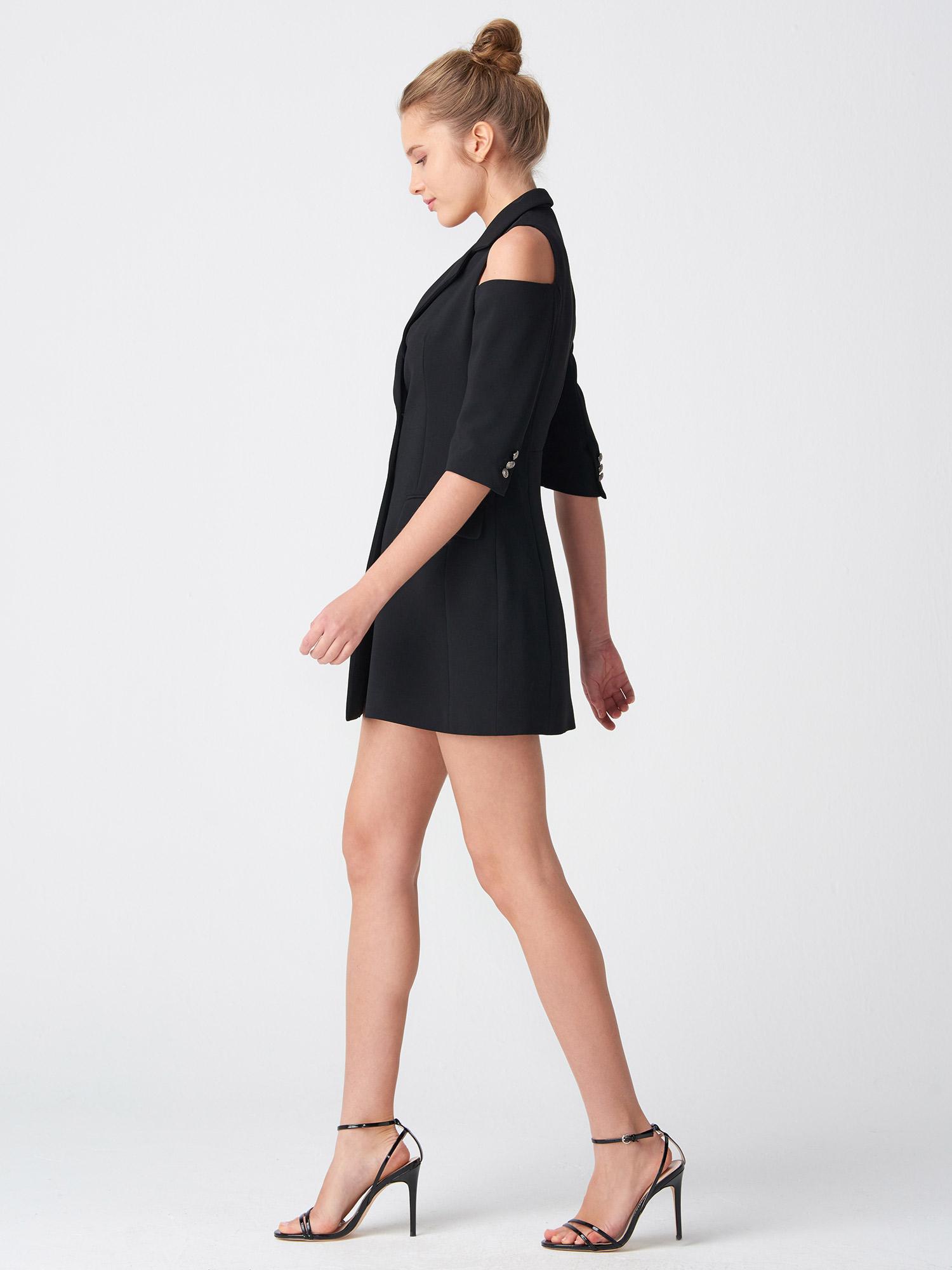 01421cd854b39 6709 Omuzu Açık Kruvaze Ceket Elbise-Siyah   CEKET   DILVIN