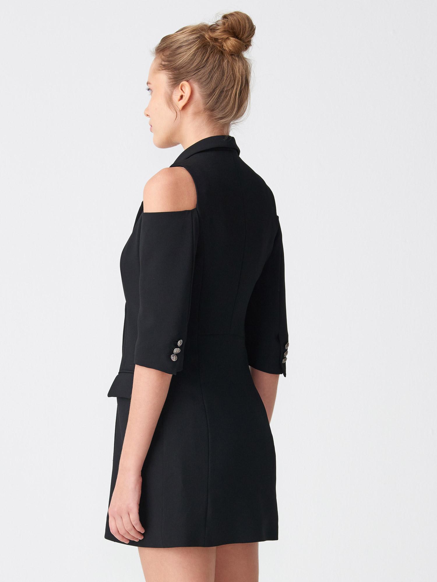 01421cd854b39 6709 Omuzu Açık Kruvaze Ceket Elbise-Siyah | CEKET | DILVIN