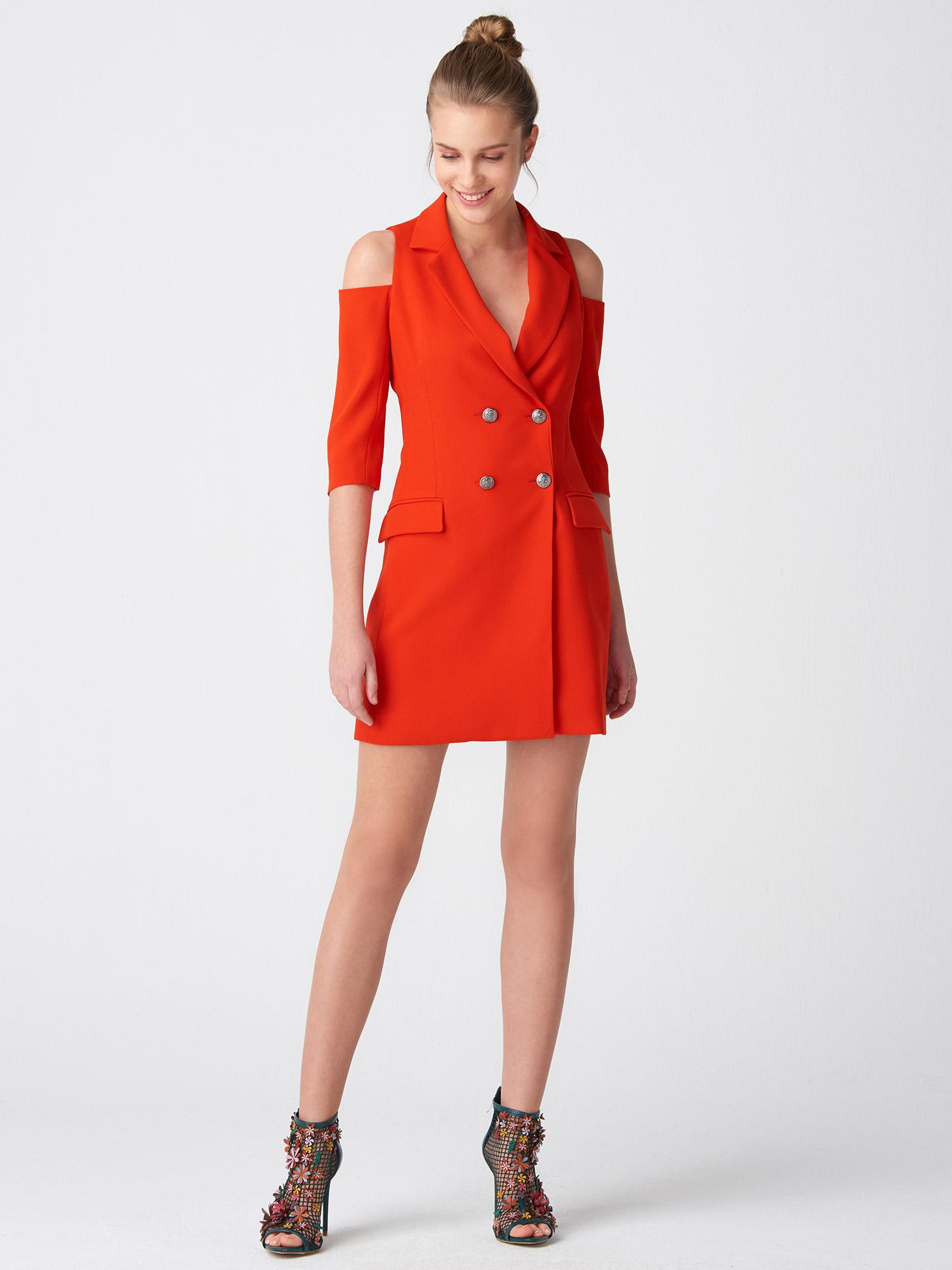 f5a422cb35c89 6709 Omuzu Açık Kruvaze Ceket Elbise-Kırmızı   ELBİSE   DILVIN