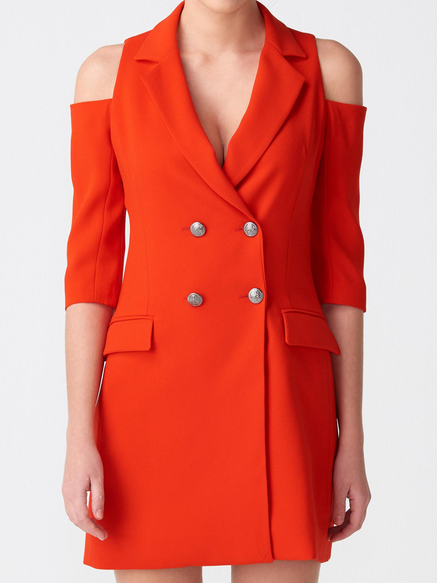 f5a422cb35c89 6709 Omuzu Açık Kruvaze Ceket Elbise-Kırmızı | ELBİSE | DILVIN