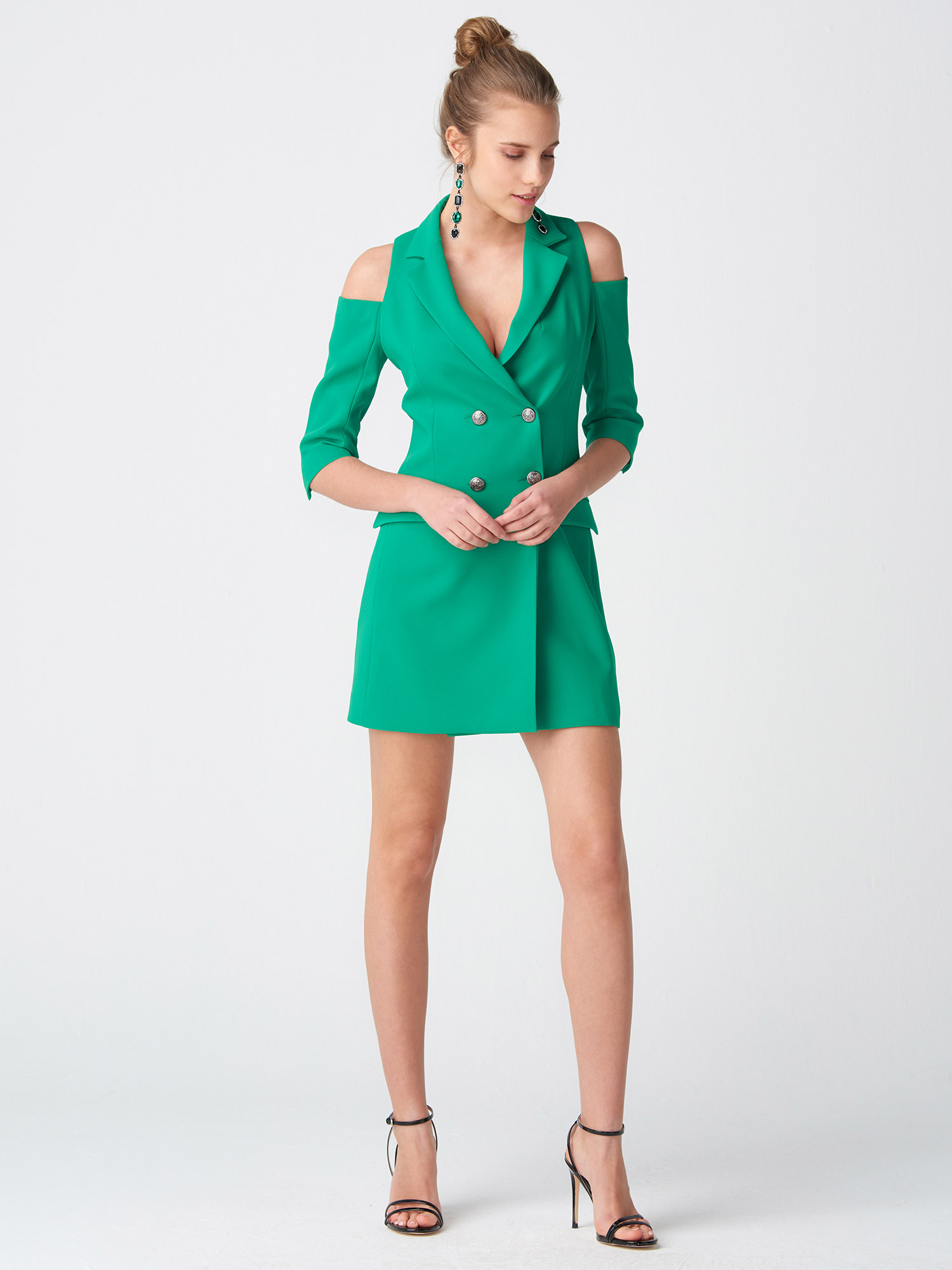 bc4c9d91561a7 6709 Omuzu Açık Kruvaze Ceket Elbise-Yeşil | ELBİSE | DILVIN