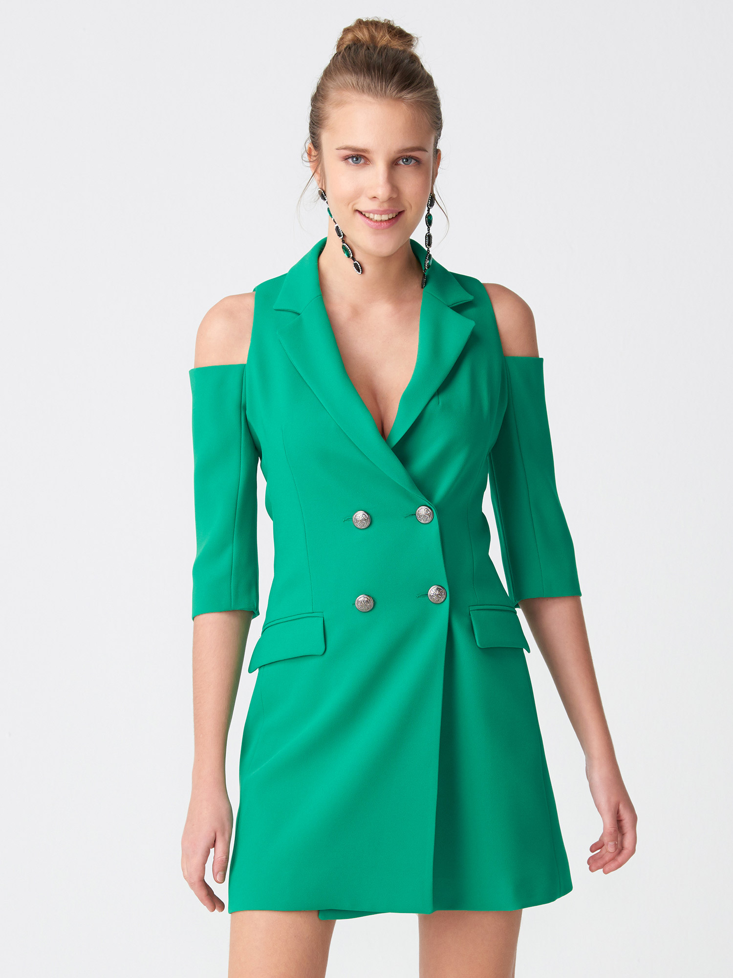 bc4c9d91561a7 6709 Omuzu Açık Kruvaze Ceket Elbise-Yeşil   ELBİSE   DILVIN