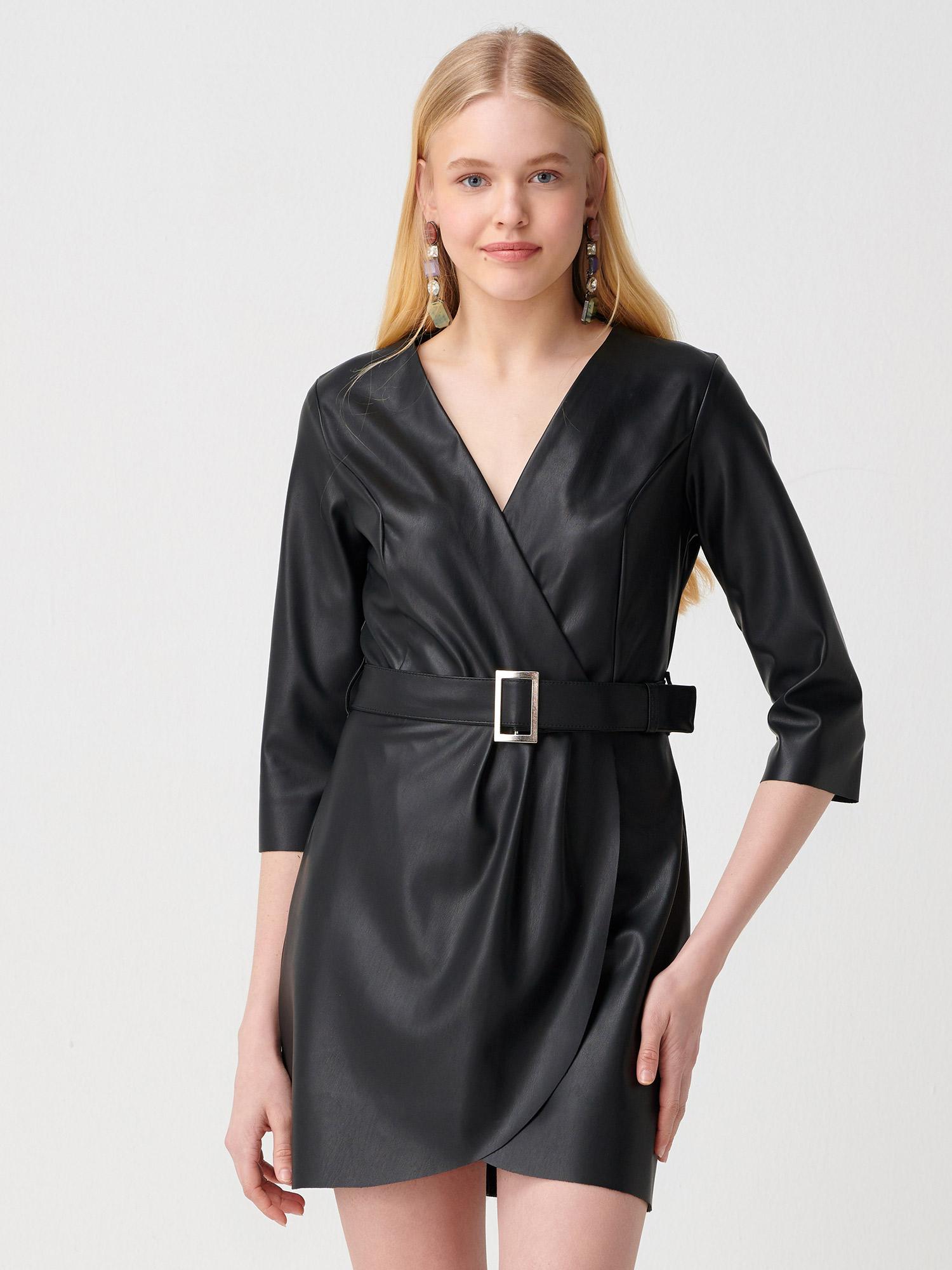 c2959e7e95acc 9777 Truvakar Kol Deri Elbise-Siyah | ELBİSE | DILVIN