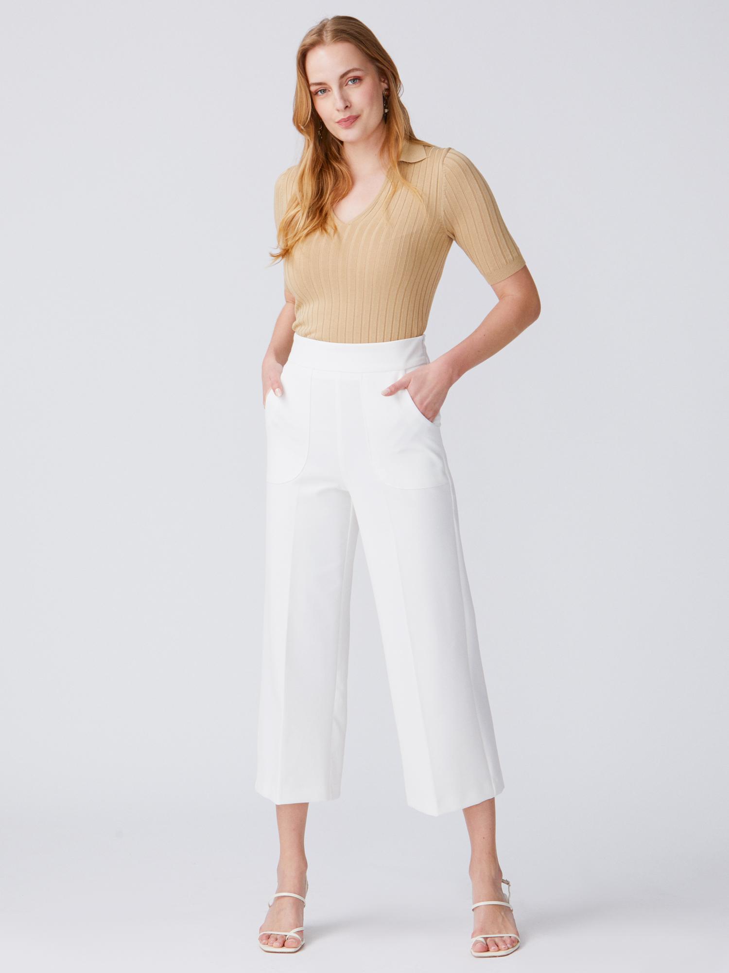 06b70f7f68e89 7999 Cep Detaylı Yüksek Bel Pantolon-Beyaz | PANTOLON | DILVIN