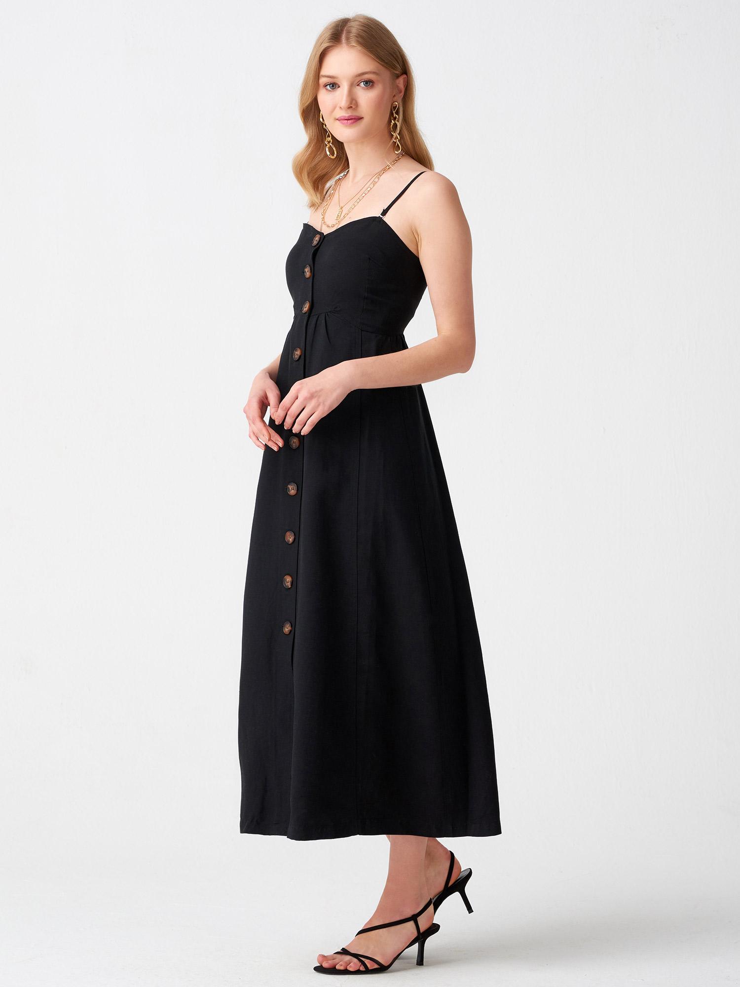 d203b2a4071b2 9988 Askılı Straplez Elbise-Siyah | ELBİSE | DILVIN