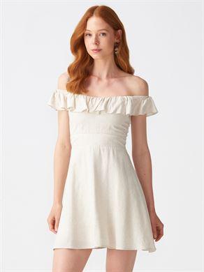 6948f79563925 9034 Sırtı Gipeli Yaka Fırfırlı Elbise-Natural | ELBİSE | DILVIN