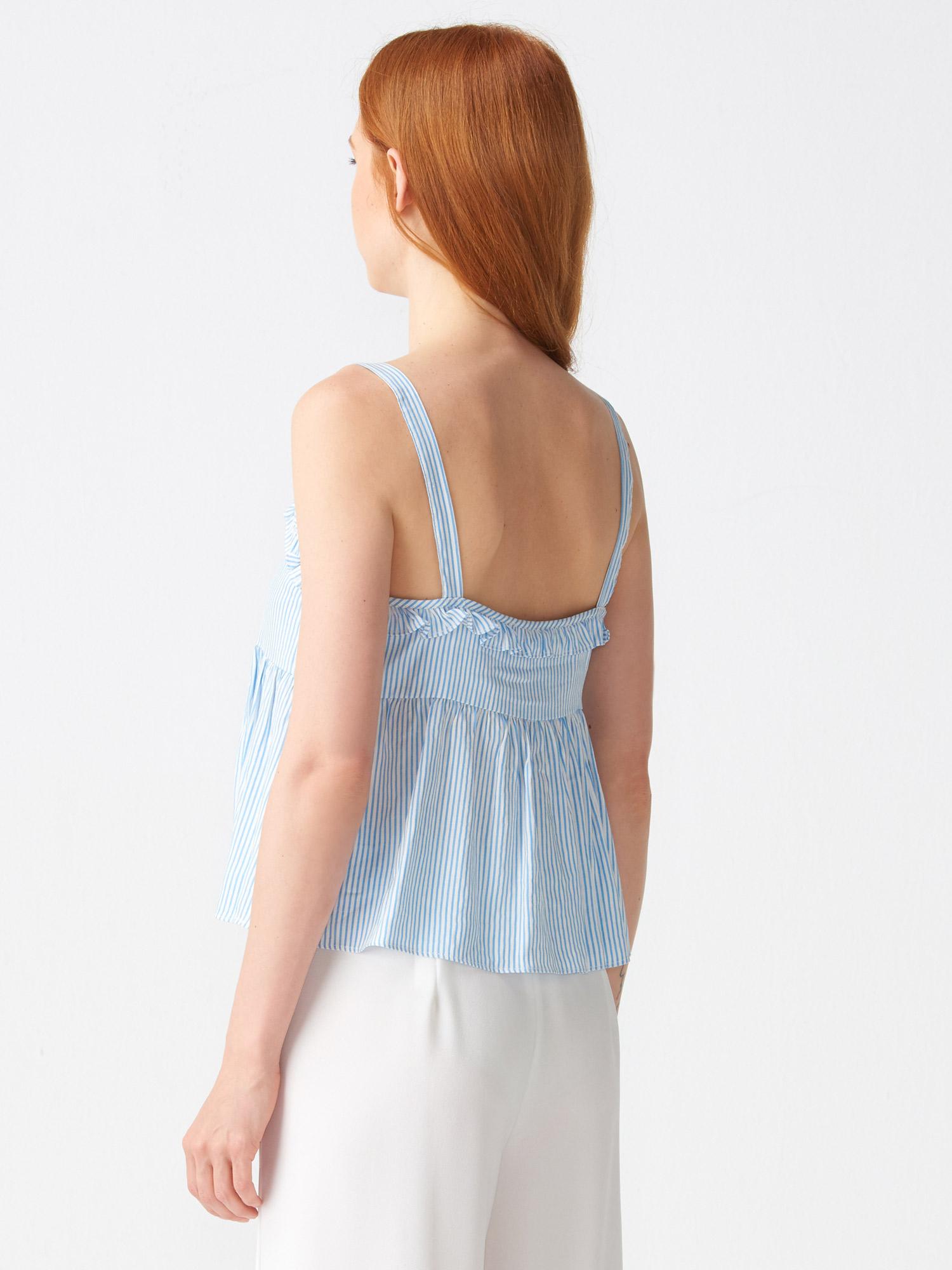 86055402052b2 5701 Fırfır Yakalı Çizgili Bluz-Mavi | BLUZ | DILVIN