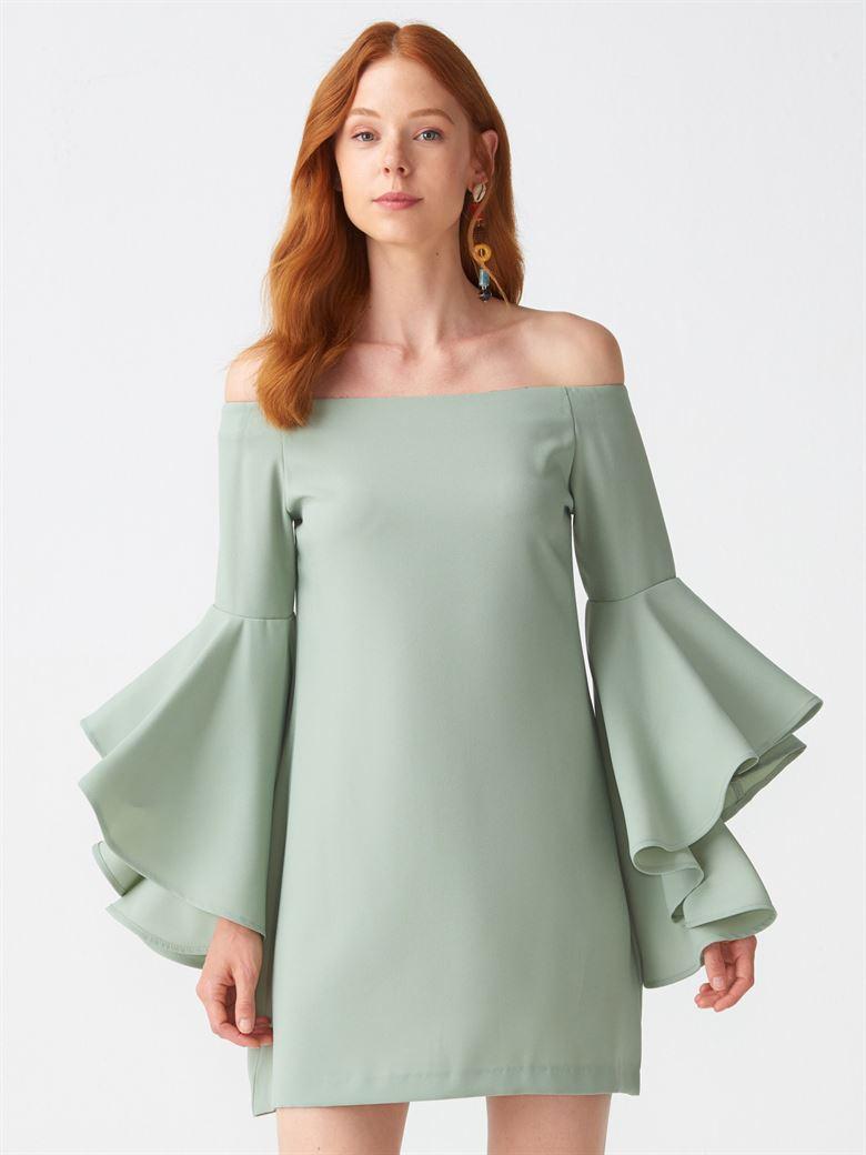 9f8e9004974fe 9665 Düşük Omuz Kolu Volanlı Elbise-Mint