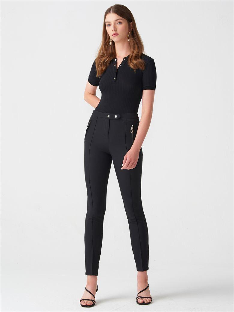 f17ff7c1b0c8d 7260 Fermuarlı Strech Pantolon-Siyah