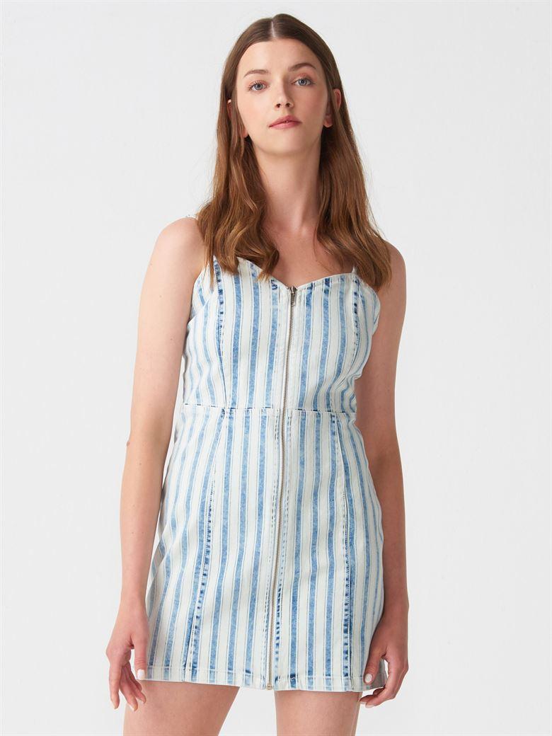 1109fbf1b0b77 9789 Önü Fermuarlı Çizgili Elbise-Laci-Beyaz