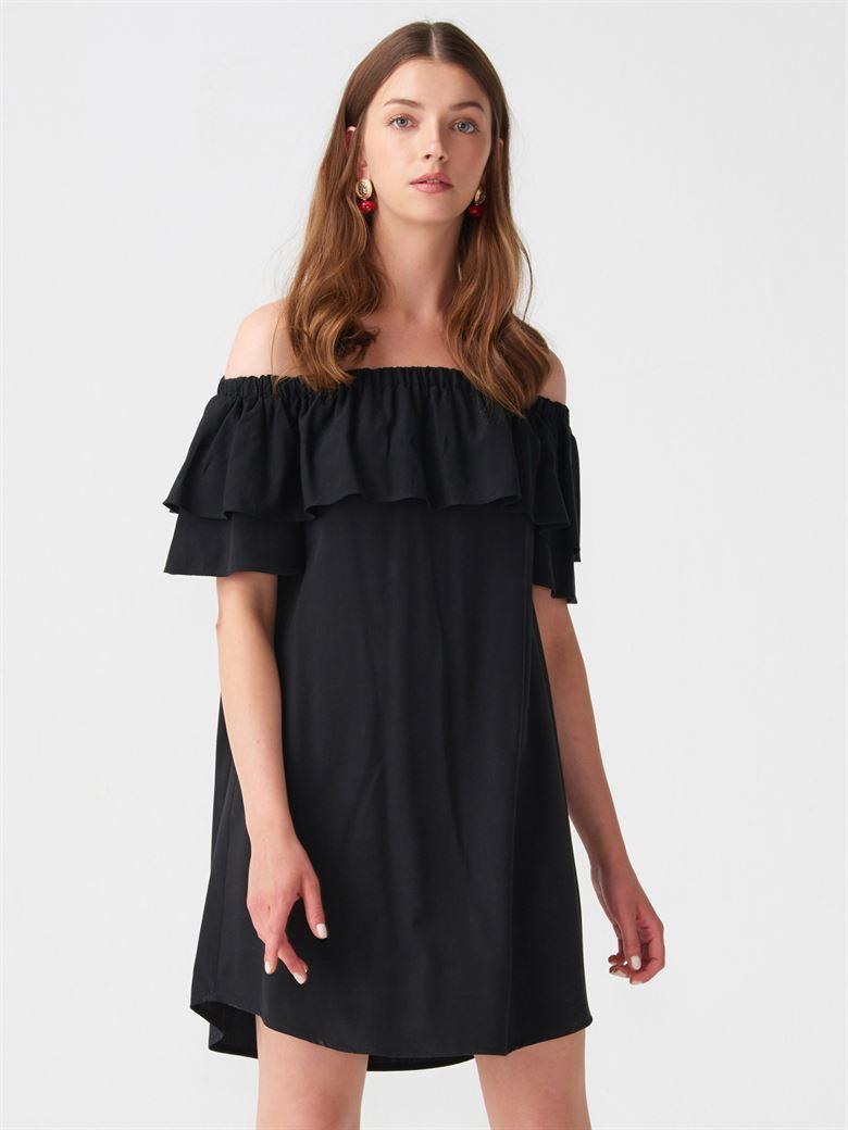37d63d054fa4b 9818 Düşük Omuz Midi Boy Elbise-Siyah