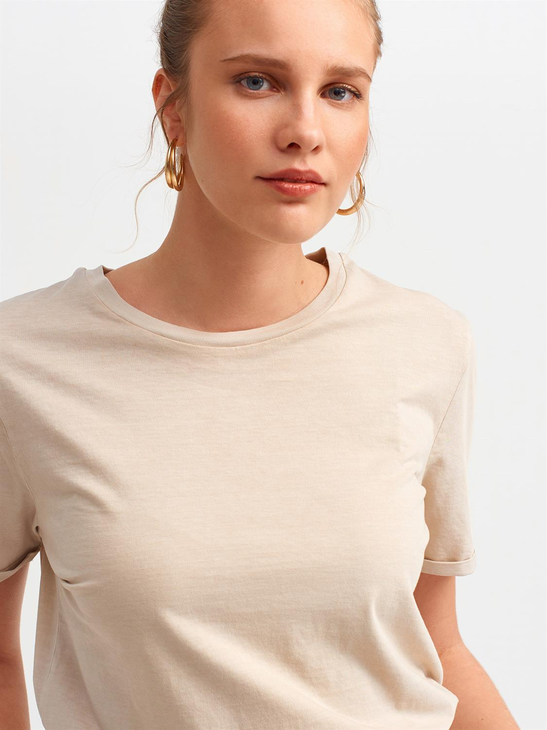 3535 Kol Duble Kıvırmalı Basic T-Shirt-Bej