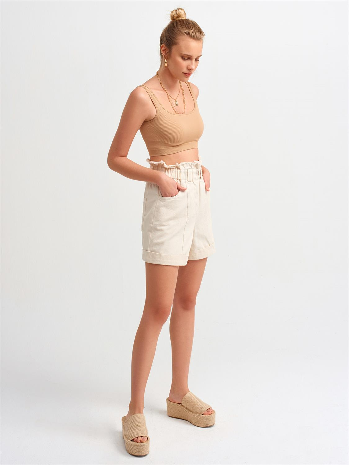 3540 Askılı Crop Top-Camel