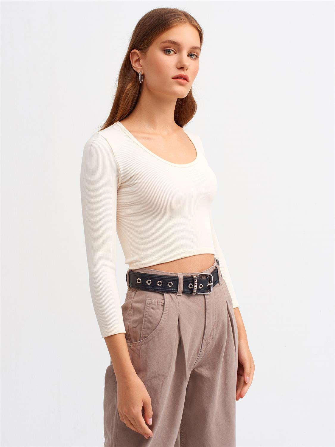 3529 Havuz Yaka Uzun Kollu Crop Top-Natural