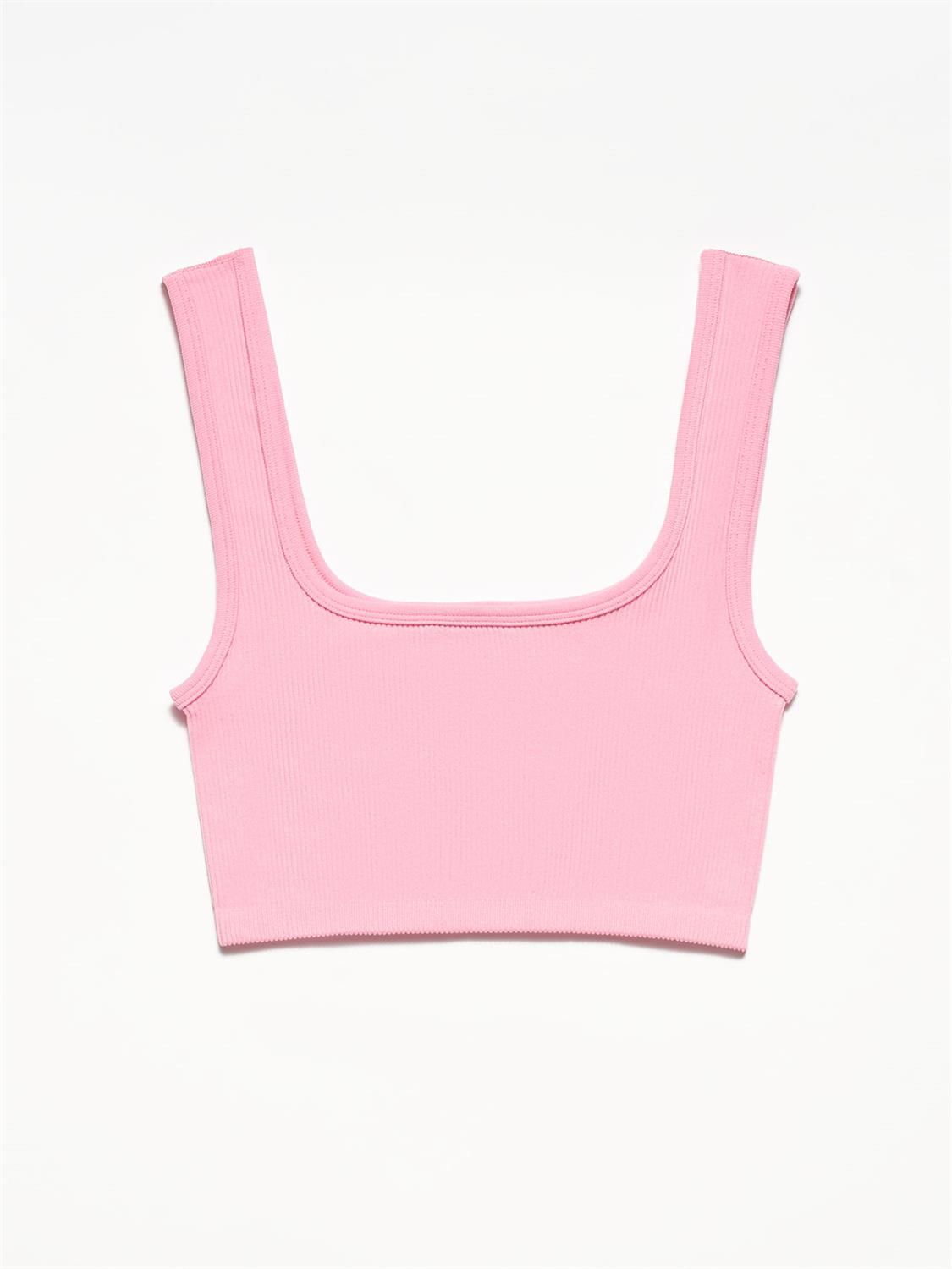 3673 Crop Top-Açık Pembe