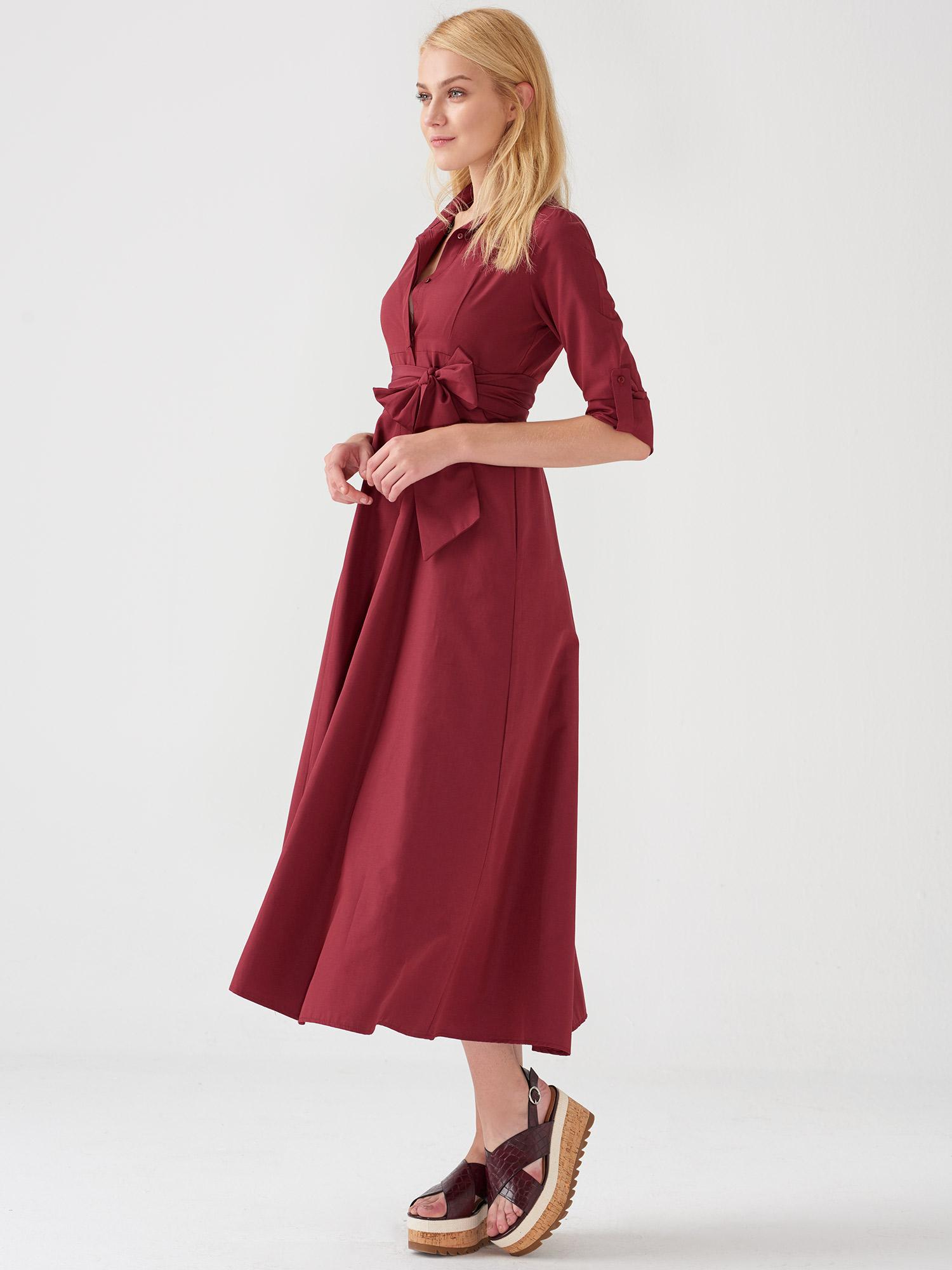 b317c0c0d816a 9690 Uzun Düğmeli Gömlek Elbise-Bordro | ELBİSE | DILVIN